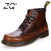 ZOQI Unisex Martin Boots Women Shoes Winter Ankle Boots For Women Warm Genuine Leather Boots Women