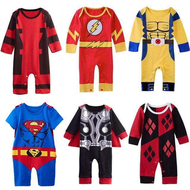Bébé Garçons Super-Héros Costume Barboteuse Infantile Mignon Outfit Thor Pikachu Wolverine Harley Quinn Batman Nouveau-Né Salopette Cosplay