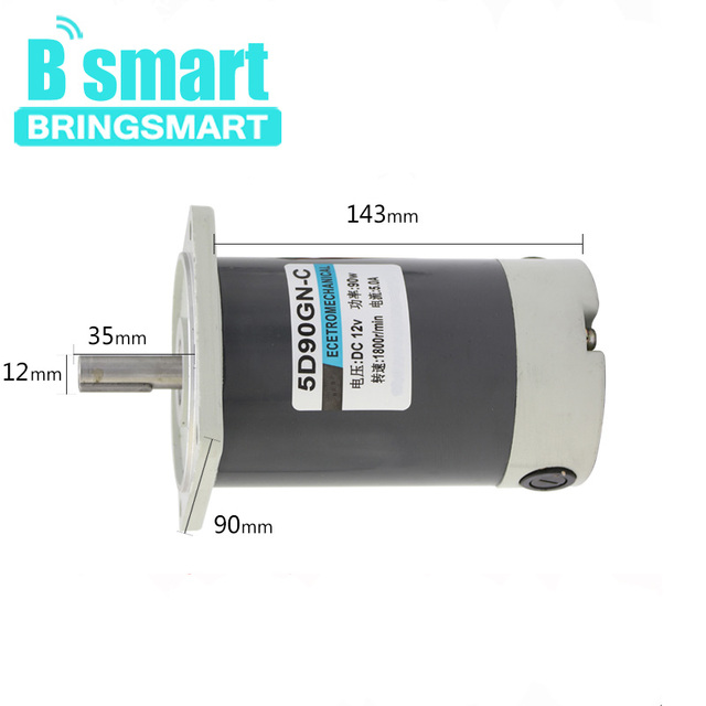 US $84 75 29% OFF Bringsmart 90W DC Gear motor 12V High Speed DC Motor  1800rpm/3000rpm Low Noise Adjustable Speed Motor-in DC Motor from Home