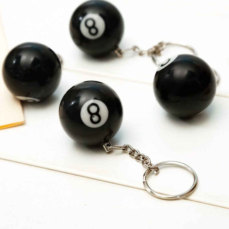 16 piece/lot Billiard Pool Key Chain Snooker Table Ball Shaped Key Ring Gift Lucky NO.8 Fashion Creative Trendy Black Key chain