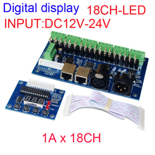 Free shipping 18CH dmx512 decoder,18 channel dmx512 controller, 6groups RGB output,RJ45,LED DMX drive,Digital display