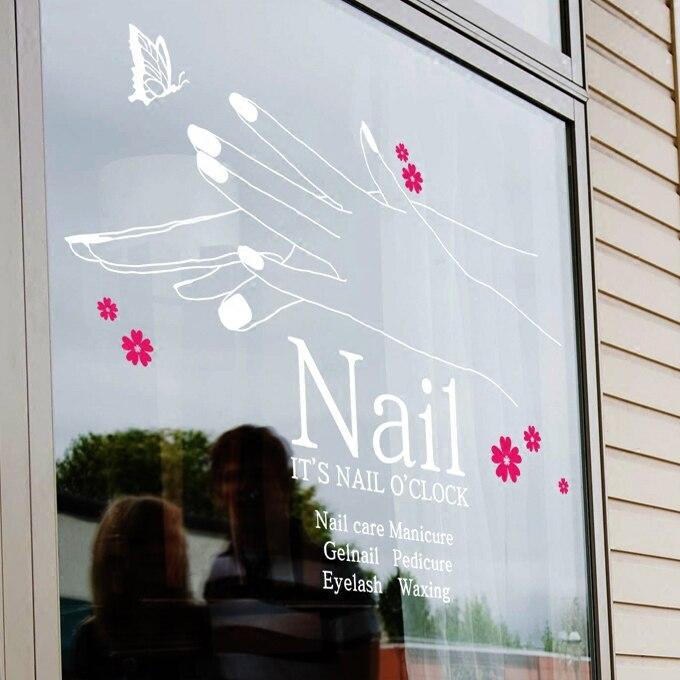 2018 New Nail Shop Vinyl Wall Decal Nail Salon Girl Hand Design Mural Wall Sticker Nail Polish Sticker Beauty Shop Decoration