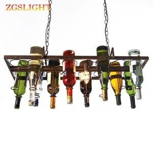 Винная бутылка led Потолочный железный подвесной Лофт ретро подвесные лампы E27 LED подвесные светильники для гостиной бара ресторана кухни до...