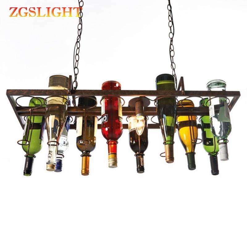 Butelka wina led sufitowa lampa wisząca z żelaza Loft retro wiszące lampy E27 wisiorek led światła do salonu bar restauracja kuchnia domu