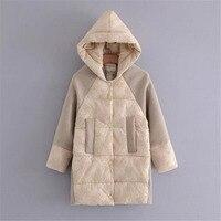 original 2017 long parka winter hooded lace coat for women long korean Loose elegant manteau hiver femme wholesale