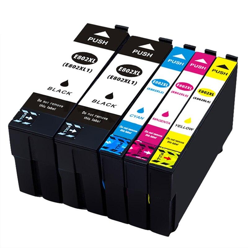 Combinatio Set Compatible Ink Cartridge T802 T802XL For WorkForce WF-4720 WF-4730 WF-4734 WF-4740 WF-4745 All-in-One Printer workforce wf 100w