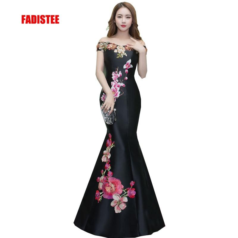 FADISTEE New arrival elegant prom party   dress     evening     dresses   Vestido de Festa gown lace mermaid boat neck satin appliques