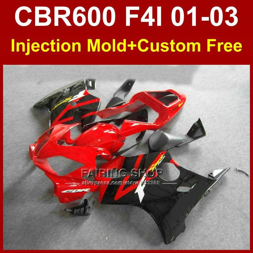 OEM usine carénage pièces pour HONDA CBR600 F4I 01 02 03 CBR 600F4i 01 02 03 personnalisé rouge carénages kit cbr 600 f4i 2001 2002 2003