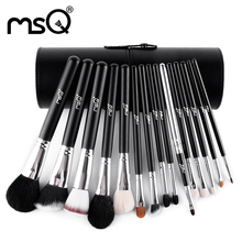 MSQ Professional 15pcs Makeup Brush Set Classical Style Goat Hair Natural Wood Handle Series With Black