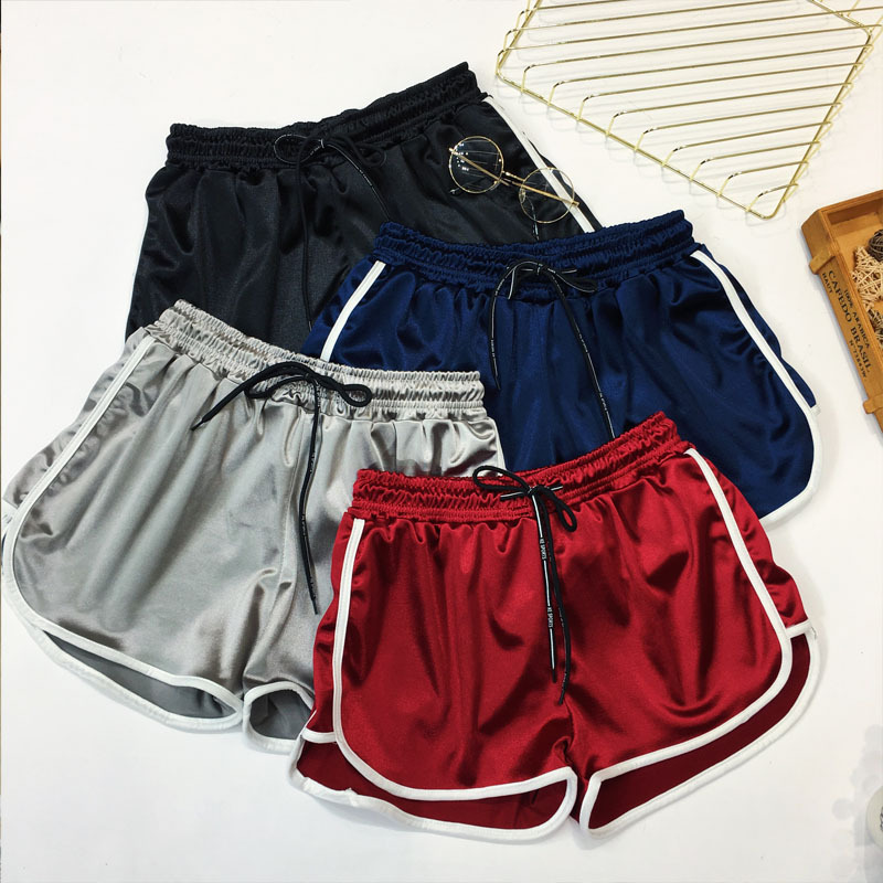 BerylBella Summer Women   Shorts   Solid Elastic Wiast Wide Legs Running Loose   Shorts   Women Fitness Work Out   Shorts   Female