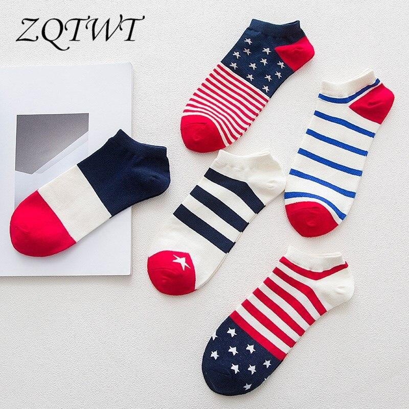 ZQTWT 5Pair/Lot High Quality Harajuku Flag Sock Steet Fashion Cotton Calcetines Stripe Socks Men Casual Male Socks Meias 3WZ074