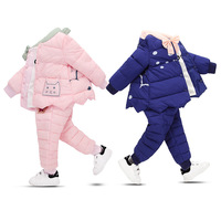 2018 Children's Underwear Clothing Sets Baby Parka Coats + Winter Trousers Down Suits for Boys and Girls Outerwear Toddler Suits