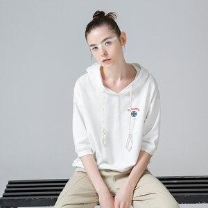 Image 4 - Toyouth, 2019, verano, camisetas con capucha, camiseta bordada de media manga, camiseta femenina Rosa Blanca, Camiseta básica para mujer, camisetas casuales femeninas