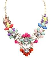 OSHUER Nieuwe Charm Multicolor bloem Kristal Strass Grote Chunky kettingen spike Verklaring Kraag Womens Sieraden