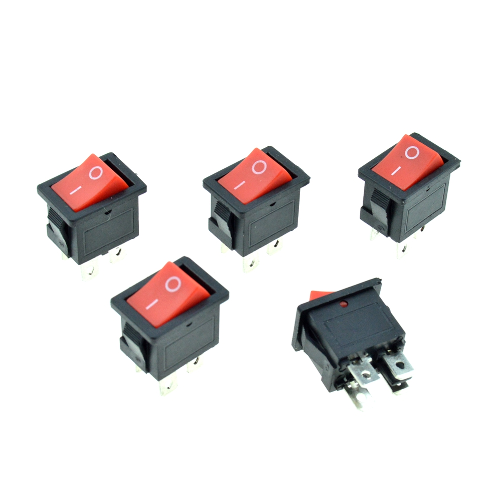 5PCS Red Button Rocker Boat Switch DPST 4 Pins 2 Positions ON/OFF ...