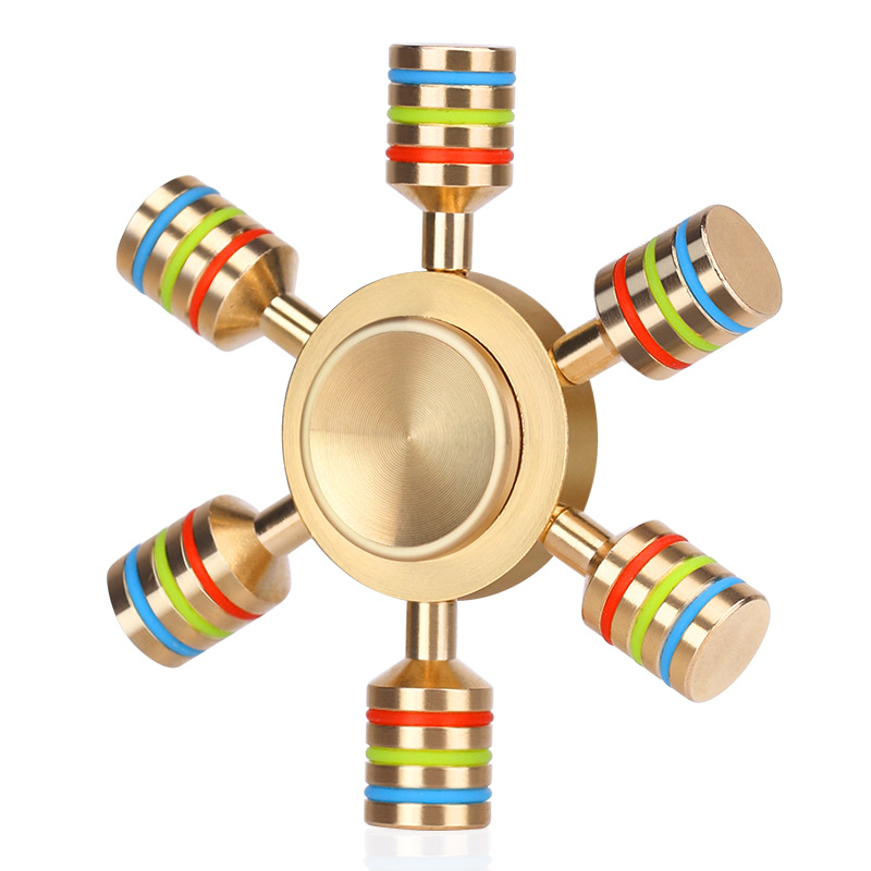 Hot Sale Hand Spinner Rainbow Fidget Toys Spinner Metal Finger Spinner 6 Arm Hand Spinner Brass Anti Relieve Stress Toy Spiner