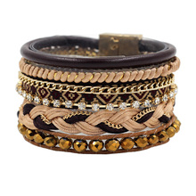 2016 pulseras Multi-layer Leather Wide Bracelets & Bangles with Bead Chain Magnetic Clasp Bracelet for Unisex Girls Woman