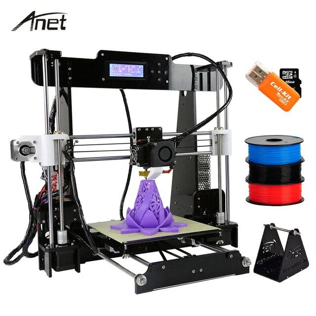Anet A8 Auto & Normale 3D Imprimante BRICOLAGE Kit Haute Précision Reprap Prusa I3 Grande Taille Impression Cadeau Gratuit Filament SD Carte De Construire Outils