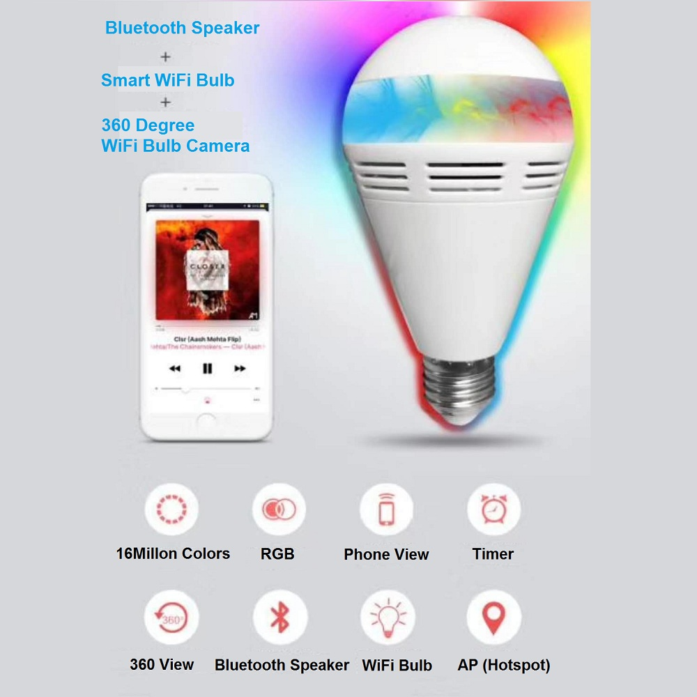 360 Degree Light Bulb WiFi Camera with Speaker Smart Remote Wireless IP Surveillance for Home Security System Motion Detection i360 Degree Light Bulb WiFi Camera with Speaker Smart Remote Wireless IP Surveillance for Home Security System Motion Detection i