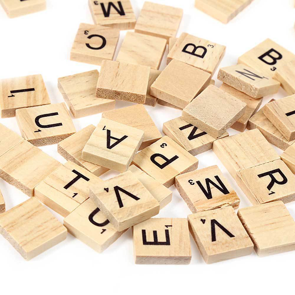18*20mm 100pcs Mix Wooden Scrabble Tiles Letters Craft Alphabet Board Game Fun Toy Gift Children Study Letter Games Freeshipping