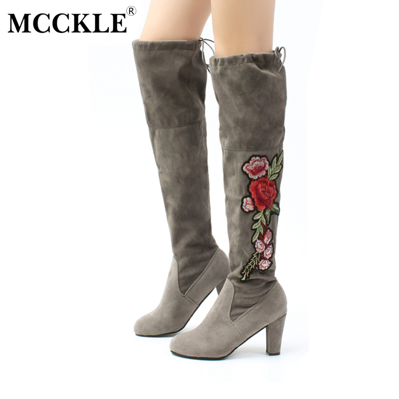 MCCKLE 2017 Female Winter Thigh High Boots Exquisite Embroidery Flower Faux Suede High Heels Over The Knee Shoes Plus Size 34-43 nayiduyun new fashion thigh high boots women faux suede point toe over knee boots stretchy slim leg high heels pumps plus size
