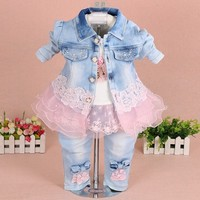 New 2016 Autumn Girls High Quality Denim Jacket Clothing Sets 3pc Baby Girl Denim Sally Patchwork