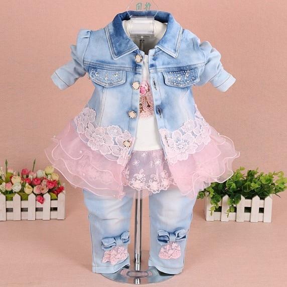 mazuļu meiteņu apģērbi pavasara rudens džinsa jaundzimušo meiteņu apģērbu komplekts 3gab. bērnu apģērbu meitene dzimšanas diena bērniņi mazuļu apģērbu komplekti