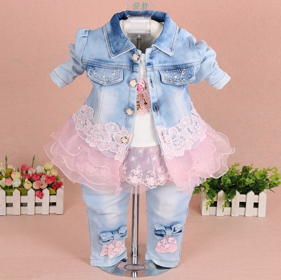 new 2016 autumn girls high quality denim jacket clothing sets 3pc baby girl denim sally patchwork clothes sets kids clothes sets