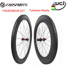 700C Farsports carbon wheelsets TT road bicycle carbon clincher wheelset 60mm 88mm Sapim spokes and DT 240 hub 36 ratechets