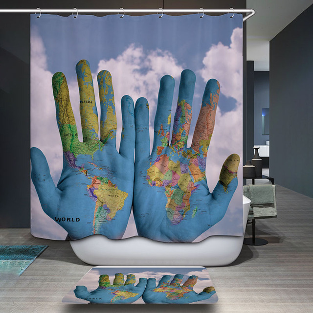 Decoruhome polyester waterproof world map hands fancy scenic decoruhome polyester waterproof world map hands fancy scenic shower curtain bathroom curtains 12 hooks mildewproof bath gumiabroncs Images