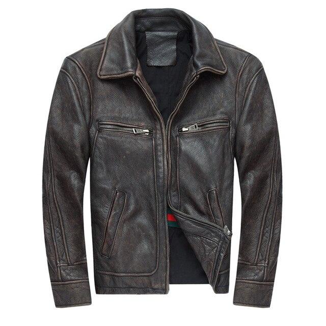 6dd2ecabf5403 2017 nowych mężczyzna Retro w stylu Vintage brązowa prawdziwa skóra kurtka  moda kurtki motocyklowe grube buty