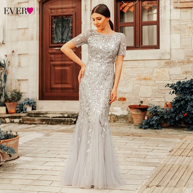 Formal Evening Dresses 2019 Ever Pretty New Mermaid O Neck Short Sleeve Lace Appliques Tulle Long Party Gowns Robe Soiree Sexy 4
