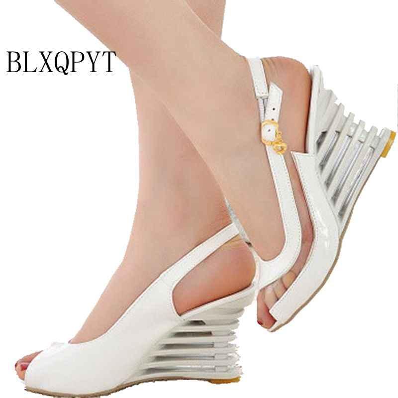 2017 Gerçek Sandalias Mujer Büyük Artı Boyutu Ayakkabı Kadın Sandalet Alt Yüksek Topuklu Ayakkabılar Sapato Feminino Yaz Tarzı Chaussure Femme 3 -2