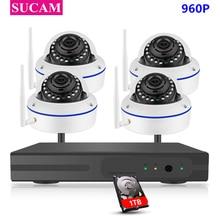 SUCAM 4CH CCTV System Wireless 960P NVR 4PCS 1.3MP IR P2P Dome Wifi IP CCTV Security Camera System Surveillance Kit 1TB HDD