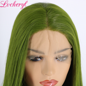 Image 4 - Lvcheryl 高温耐熱性繊維の毛ロングストレート緑の合成レースフロントウィッグドラッグクイーンコスプレメイク