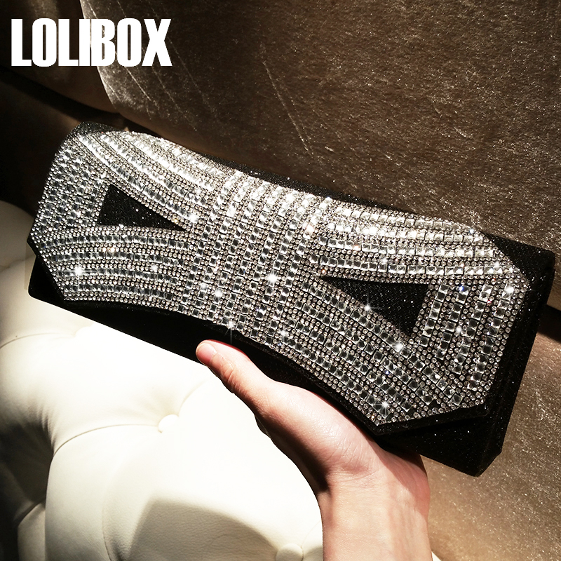 LOLIBOX Women Evening Clutch Bags Rhinestone Bow Flashing Day Clutches Purse Crystal Chain bags Bridal Wedding Party Clutch Bags retro 2017 floral beaded handbag women shoulder bags day clutch bride rhinestone evening bags for wedding party clutches purses
