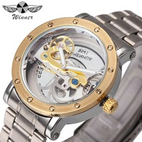 WINNER Watch Men Top Brand Luxury Golden Bridge Mechanical Watches 3D Bolt Design Stainless Steel Strap