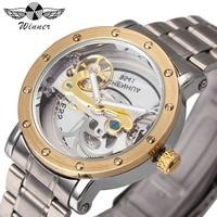 WINNER Watch Men Top Brand Luxury Golden Bridge Mechanical Watches 3D Bolt Design Stainless Steel Strap