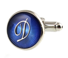 Sunnylink Men's Cuff Links Silver Blue Capital Letter Cufflinks M3152 15mm A B C D E F G H J K L M N O P Q R(China)