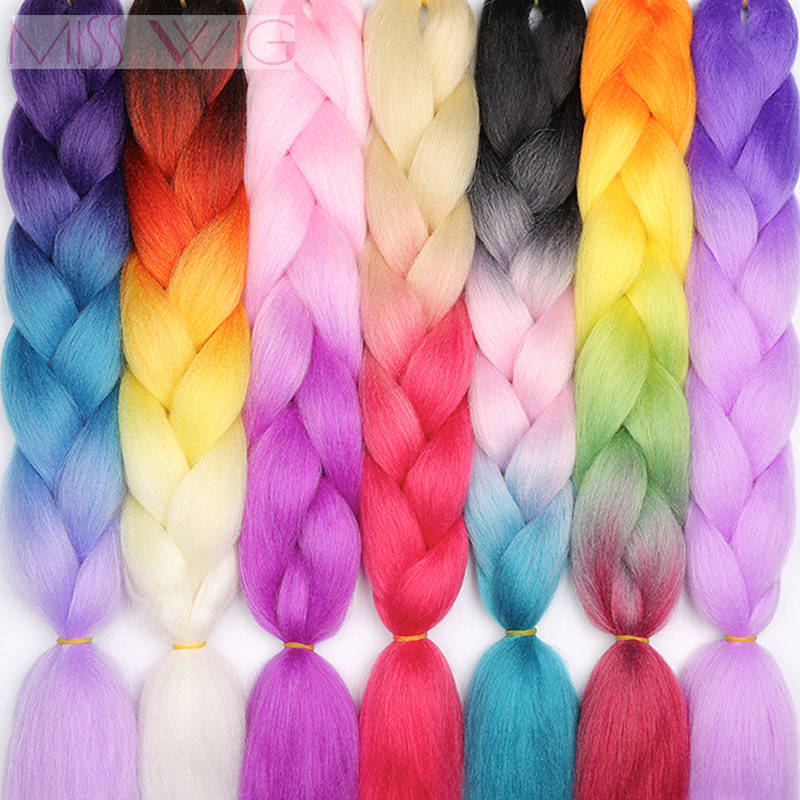 100% Quality Miss Wig Crochet Hair Ombre Kanekalon Jumbo Braids Hair 24inch 100g/pc 88colors Available Synthetic Hair Extensions For Women Strong Packing