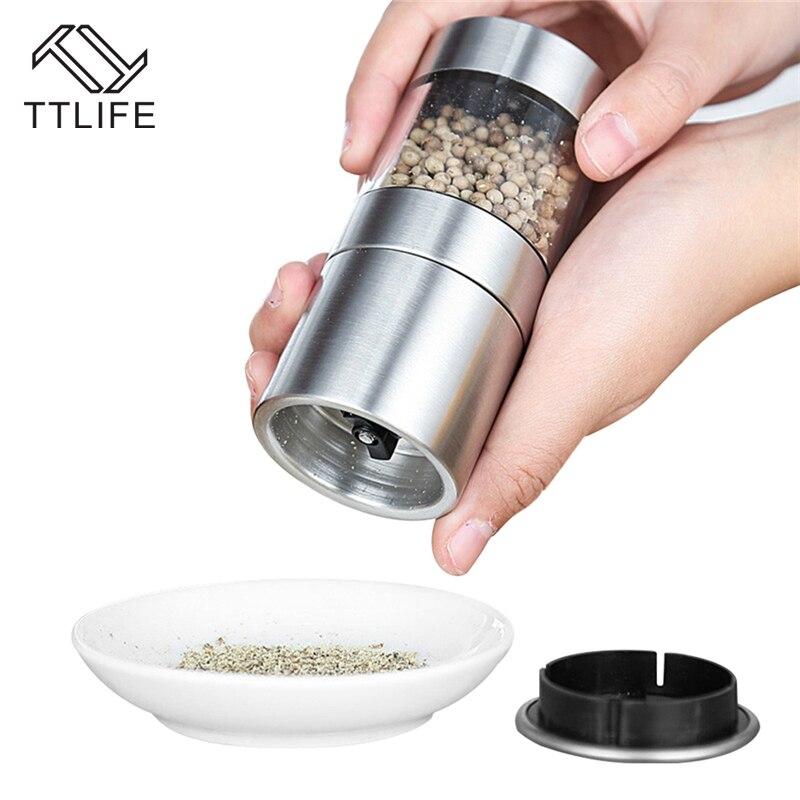 TTLIFE 1pcs Stainless Steel Manual Salt Pepper Mill