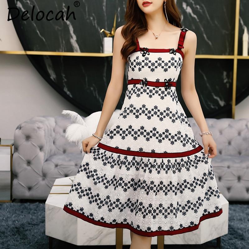 Kadın Giyim'ten Elbiseler'de Delocah Kadın Yaz Spagetti kemerli elbise Pist Moda Tasarımcısı Slash boyun Muhteşem Boncuk Nakış Vintage Midi Elbiseler'da  Grup 2