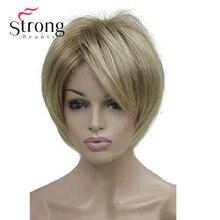 سترونجبيوتي قصير الطبقات شقراء سميكة رقيق كامل شعر مستعار اصطناعي الحرارة طيب خيارات اللون