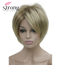 StrongBeauty Short Layered Blonde Thick Fluffy Full Synthetic Wig Heat Ok COLOUR CHOICES
