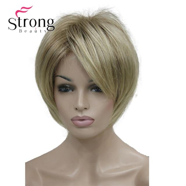 StrongBeauty peluca sintética de capas cortas, color rubio grueso, esponjoso, opciones de color
