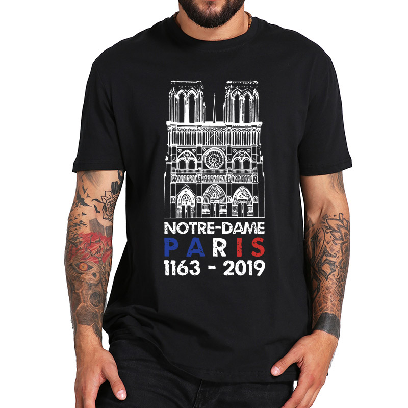 Notre Dame Cathedral   T     Shirt   EU Size 100% Cotton Homme Summer Comfortable Casual Round Neck Tees