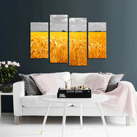 4Pcs/Set Gold Wheat Field Canvas Wall Art Picture Countryside Landscape Print Painting on Canvas Scenery Picture for Home Decor