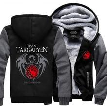 2017 Inverno Quente Grossa Com Capuz Homens Jogo dos Tronos Targaryen Fire & Dragão Sangue Homens Camisola de Alta Qualidade Plus Size Hoodies