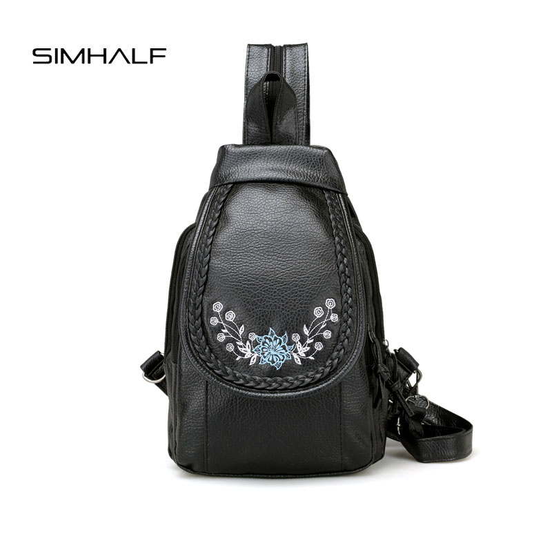 SIMHALF Women Backpack for Teenage Girls Fashion Large School Bag High Quality PU Leather Embroidered leisure travel Bag mochila