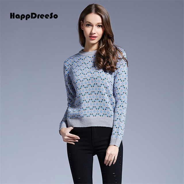 2017 New Casual Autumn Winter Women Pullover Sweaters O Neck Long Sleeve Knitted Pull Femme Printed Jersey Mujer